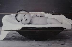 Foto op hout zwart wit