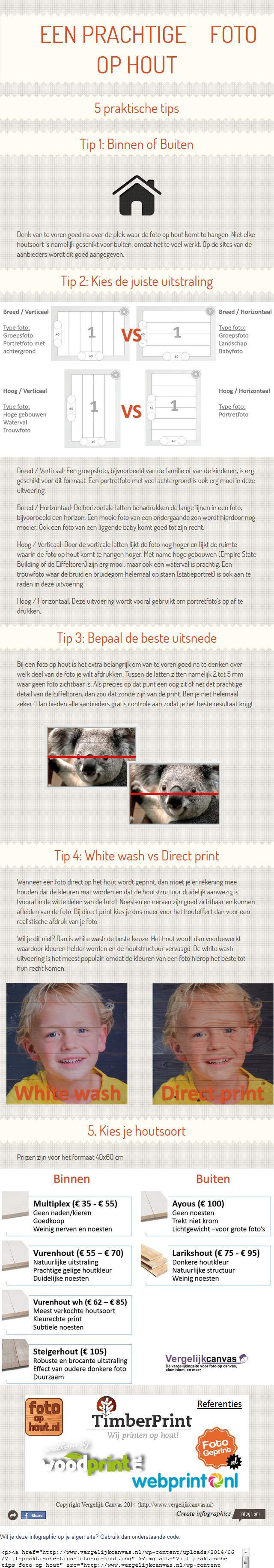 Vijf praktische tips foto op hout