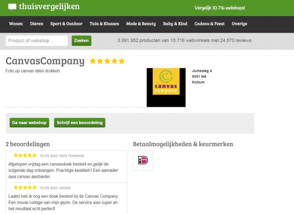 Thuisvergelijken reviews CanvasCompany