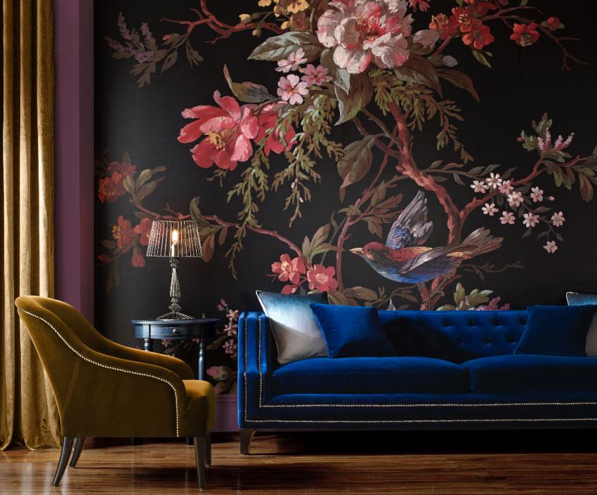 Muurschildering patroon bloemen interieur woonkamer