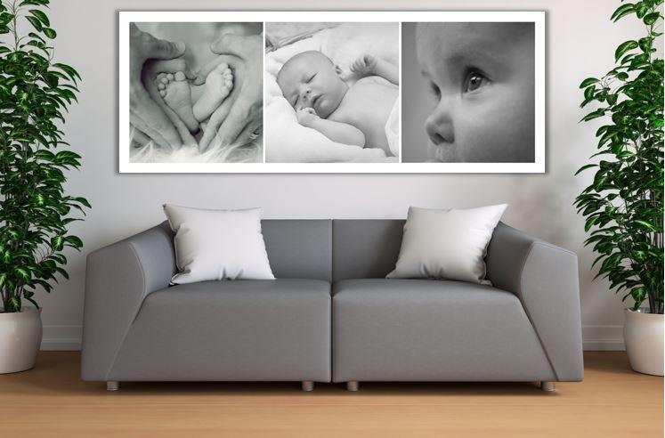 Fotocollage babyfoto op hout